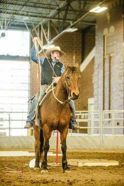 TJ Clibborn, using The Ribbon Wand in saddle