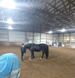 Hanging in the indoor arena