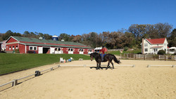Riding in the outdoor arena