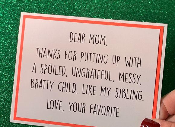 My Sibling Snarky Card