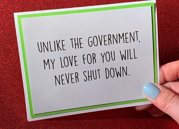 Unlike Government Snarky Card