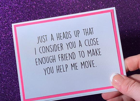 Help Me Move Snarky Card