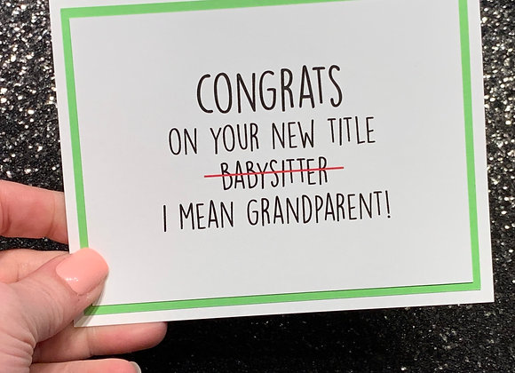 Babysitter Grandparents Snarky Card