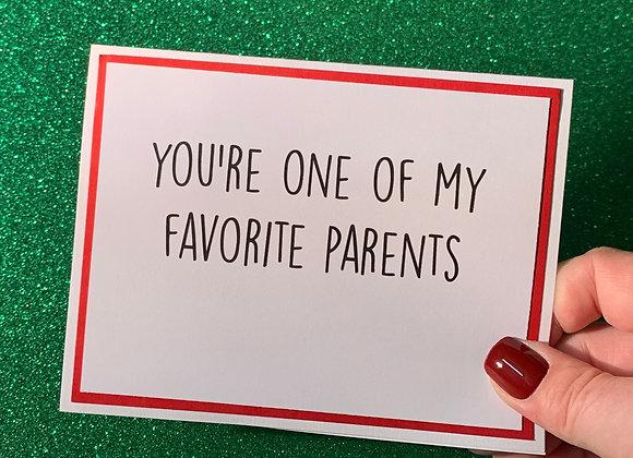 Favorite Parents Snarky Card