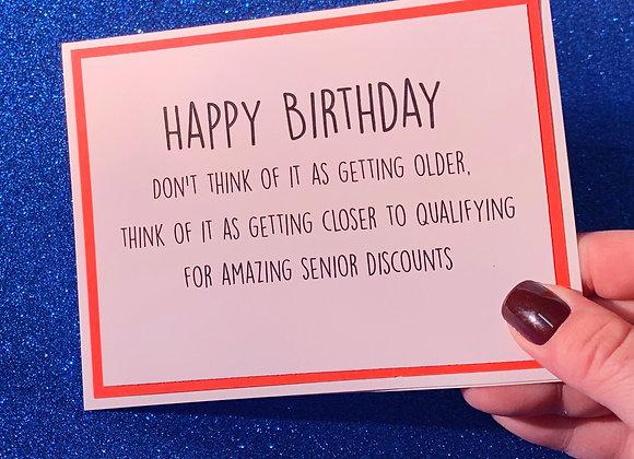 Senior Discounts Snarky Card