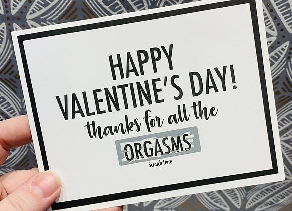 Valentine's Orgasm Scratch Off Snarky Card