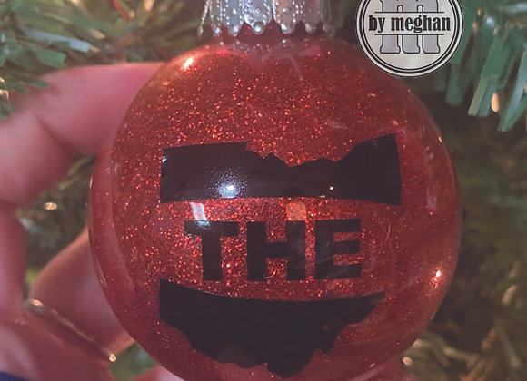 The Ohio Red Glitter Ornament