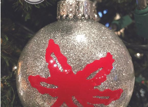 Buckeye Leaf Silver Glitter Ornament