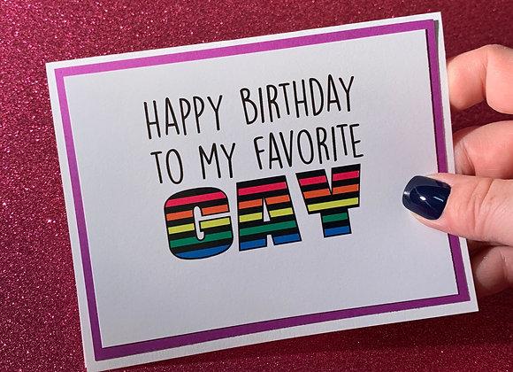My Favorite Gay Snarky Card