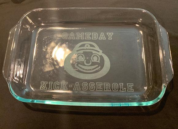 Brutus Gameday Kick-Asserole Etched Glass Baking Dish