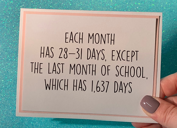 Each Month Snarky Card