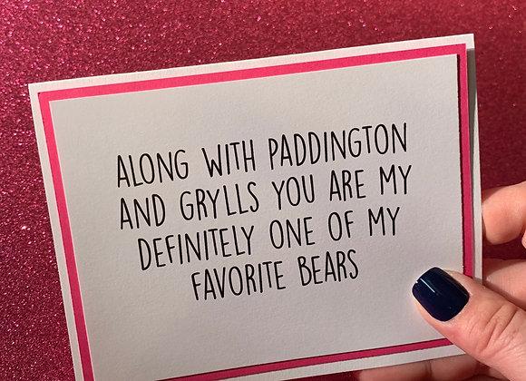 Favorite Bear Snarky Card