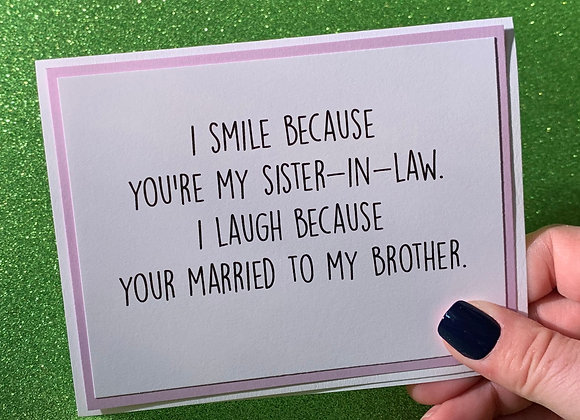 Sister In Law Snarky Card