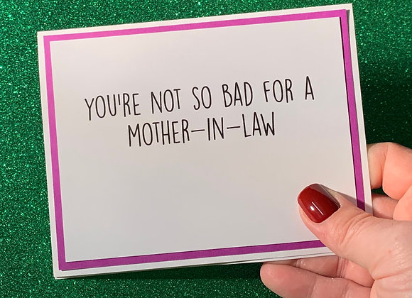 Mother In Law Snarky Card