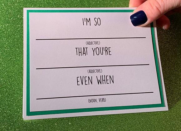 Mad Libs Snarky Card