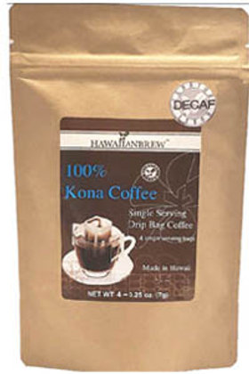 100% Kona Coffee Single Serve Drip - Decaf (4) Individual Packets