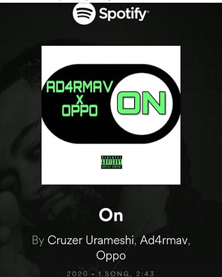 "Producer Cruzer U. Back With A New Sound In Hiphop Called ""ON"" Also Featuring Oppo & AD4RMAV"