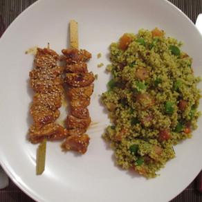 Brochettes de poulet et taboulé
