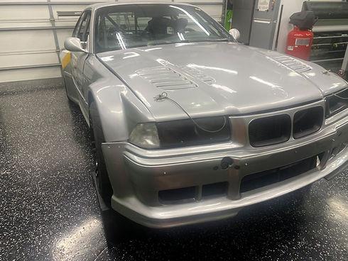 Gray vinyl wrapped BMW