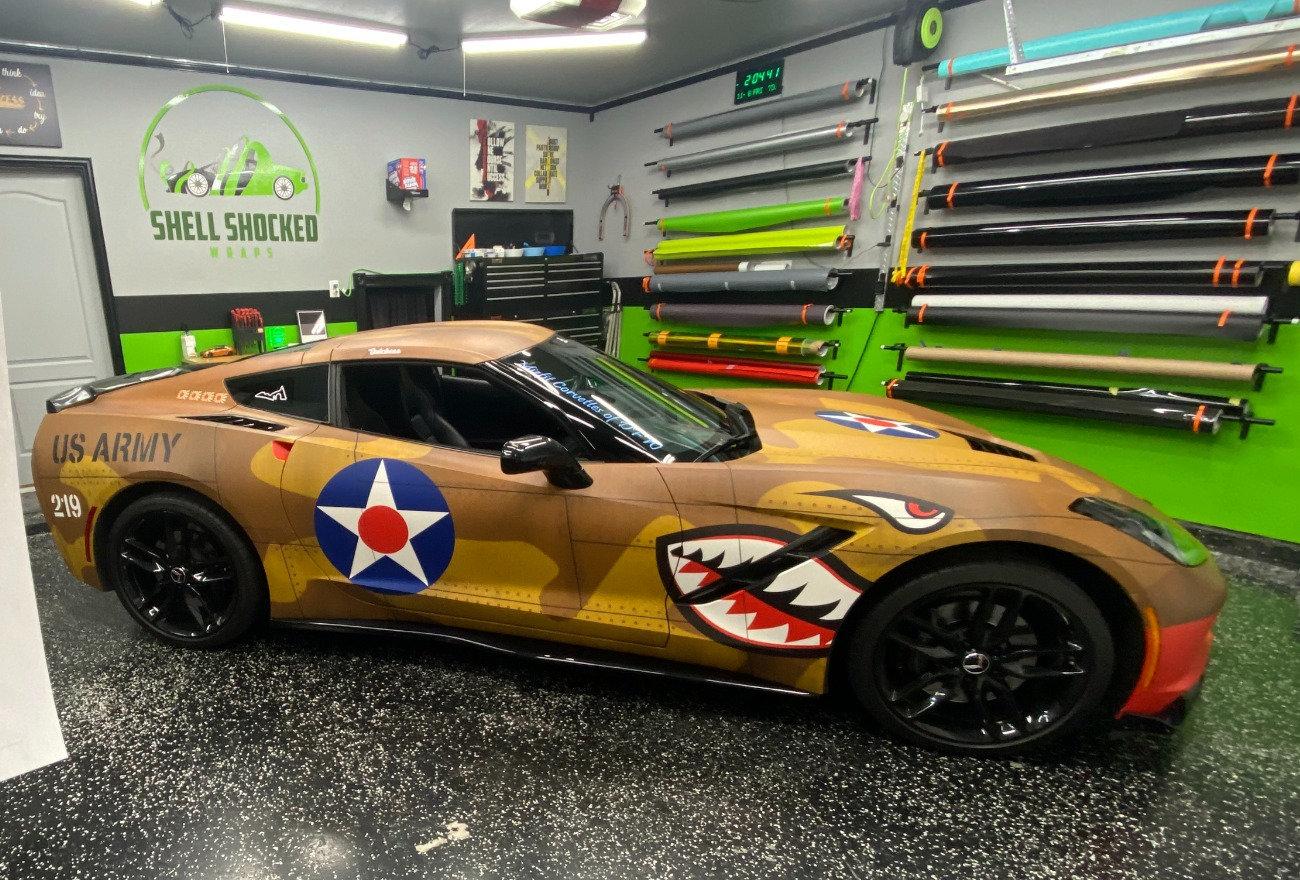 Custom designed P40 Warhawk vinyl wrap on a chevy corvette