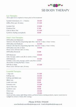 SB Body Therapy Price List2