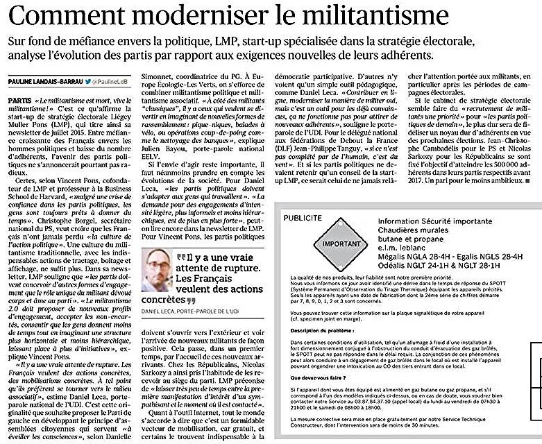 Interview dans le Figaro sur la vie dans les partis politiques -