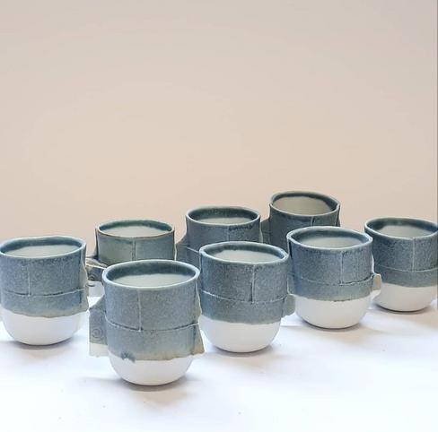 speckled blue edge cups (Gas Kiln Reduction glaze)
