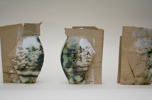 Brick Texture Stoneware and copper mini vessels