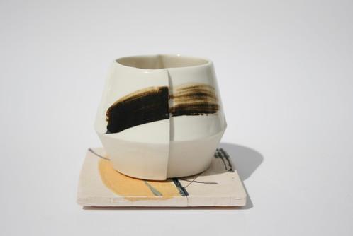 Slip cast Porcelain Cup on Coaster