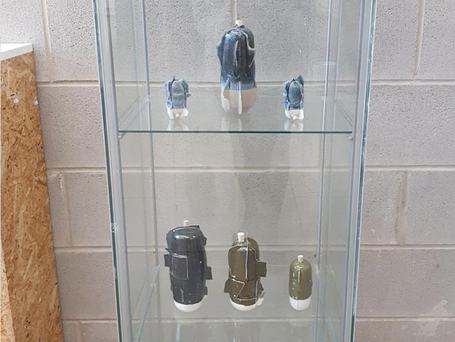 my selection of slipcast vessels on display at Ty Pawb