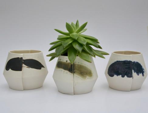 Porcelain Slip Cast Edge Planters