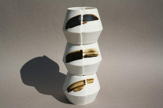 Poreclain slip cast Edge Cups (stacked)