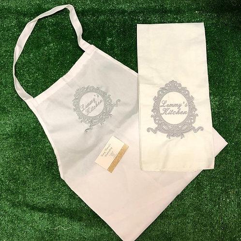 Bow Crest Tea Towel & Apron Set