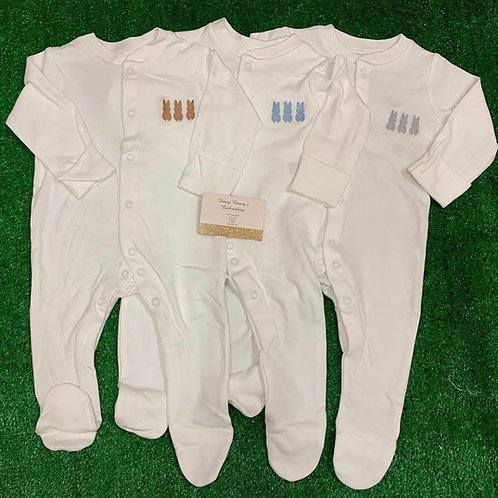 White Baby Grow With 3 bunnies