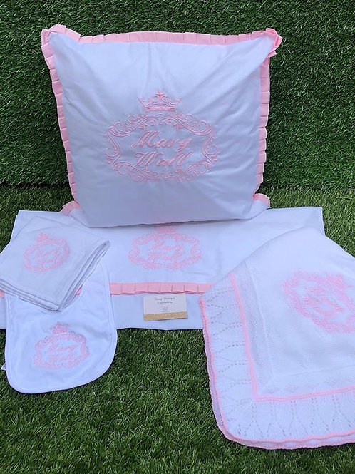 White Trimmed in Pink Cot Set
