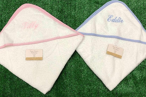 Trimmed Hooded Towel With Just a Name