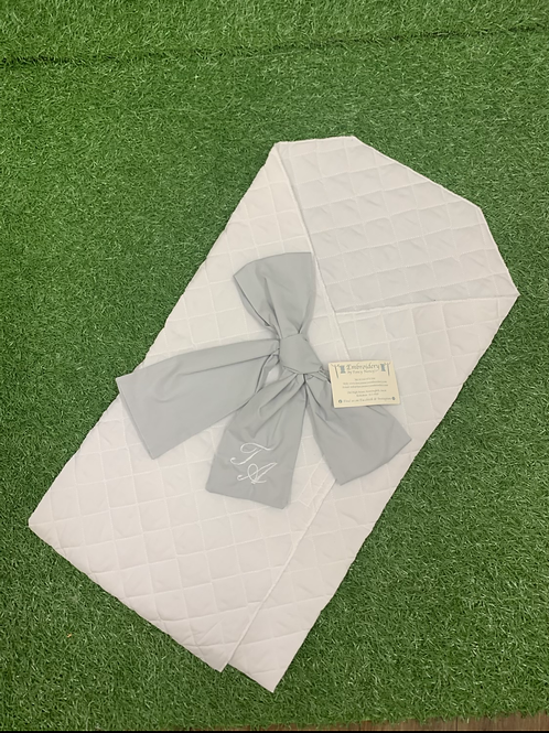 Quilted Bow Swaddle With Personalised Initials