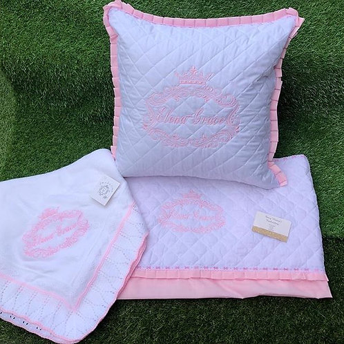 White Quilted Pillow and Sheet Plus White Shawl
