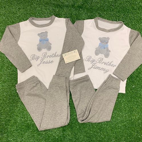 Grey & White Pjs with Teddy Bear