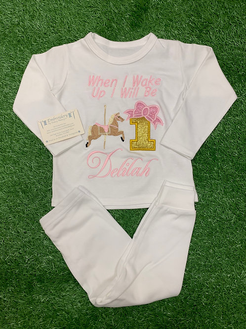 All White Pjs with Single Carousel Design