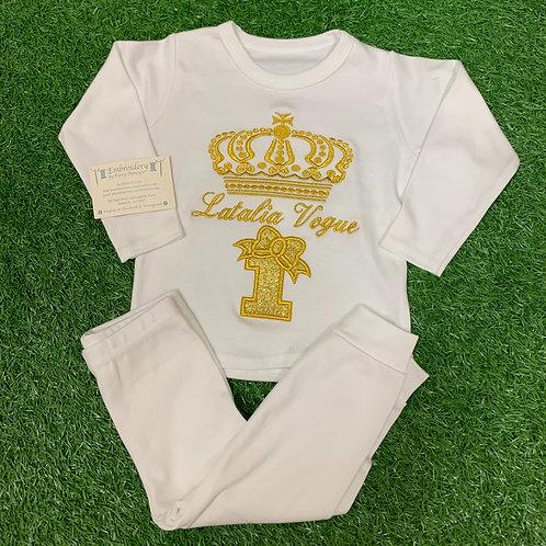 All White Gold Crown Birthday Pjs