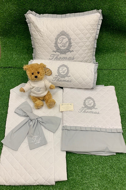 White Quilted Pillow & Sheet with Matching Accessories