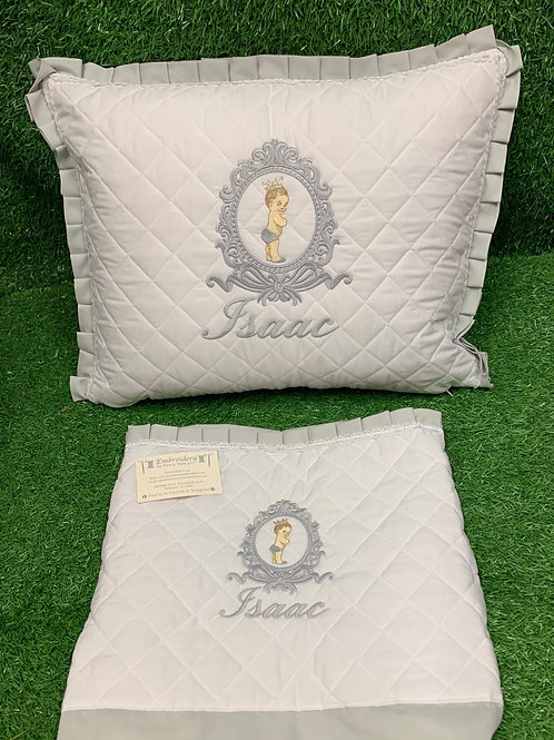 Quilted Pillow & Sheet With Bow Crest Design & Baby Design