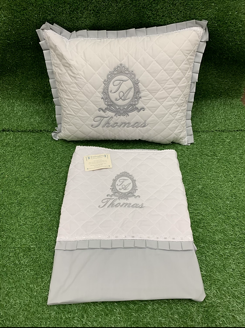 Quilted Pillow & Sheet With Bow Crest Design