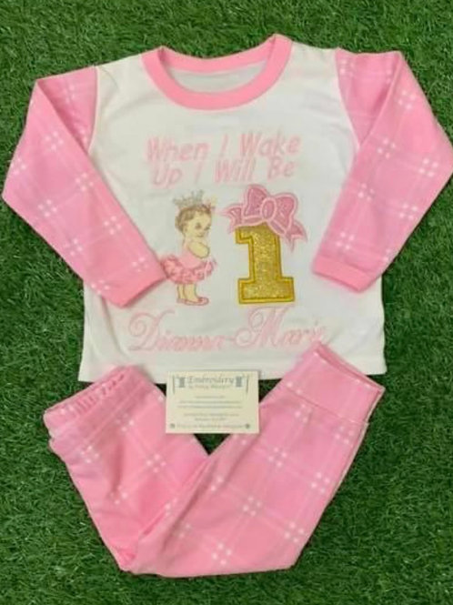 Pink Checked Vintage Baby Girl Birthday Pjs