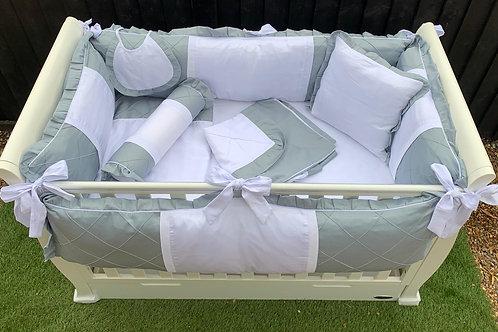 11 Piece Cot Bedding Set (Grey & White)