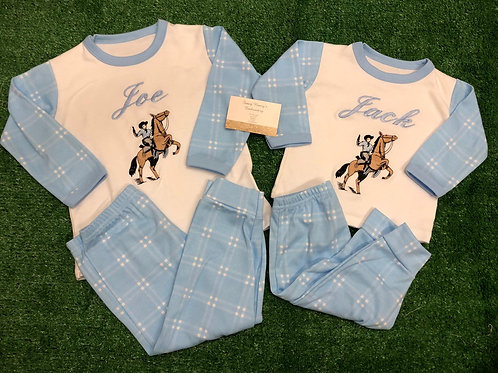 Blue Checked Pjs with Cowboy & Name