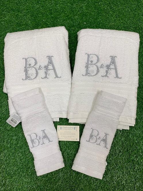 Fancy Initial Towel Set
