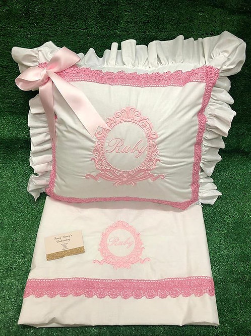 White Pillow & Sheet set With Pink Lace