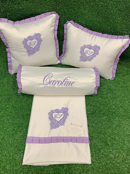 Satin 2 x Small Pillows & Sheet, Rolly Pillow & Half Bumper Set
